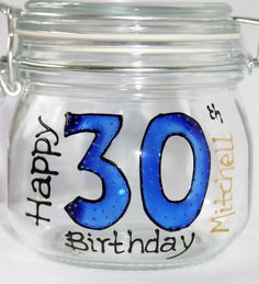 "Fill with retro sweets for a perfect present ""Happy 30th Birthday"" Glass Sweetie Jar  www.smashingglassdesigns.co.uk"