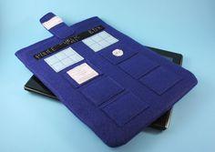 """It's a TARDIS. Your iPad wears a TARDIS now. TARDISes are cool."" // Doctor Who Tardis IPAD Sleeve Police Call Box with Pocket."