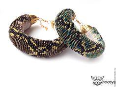 """Купить Браслет из бисера """"Королевский питон"""" - браслет крючком, браслет из бисера, браслет женский, браслет"""