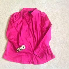 Pink button down shirt with cheetah print cuff Size 18 Lane Bryant pink shirt with cute cheetah cuff and collar detail. Lane Bryant Tops Button Down Shirts