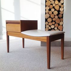 MID CENTURY TELEPHONE BENCH TABLE, DANISH STYLE, RETRO SEAT 60 s / 70 s