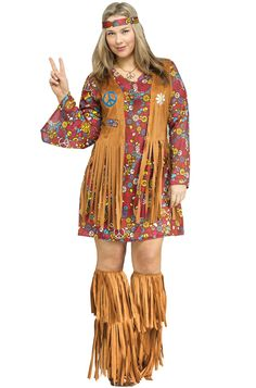 Peace and Love Hippie Women Adult Plus Size Costume