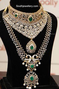 Diamond Emerald Choker and Haram Set photo