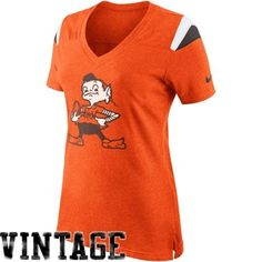 Nike Cleveland Browns Women's Retro Fan V-Neck T-Shirt - Orange