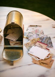 Gold Mail Box Wedding Guest Book! Adorable.
