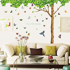 Dagou Extra Huge Size 7.4(h) X 9.7(w) with 40 Butterflies DIY Fresh Green Leaves & Large Tree Birds Wall Decals Enjoy Easy to Apply Relaxed Removable Wall Stickers for Home Kids Living Room http://ift.tt/2kA5Ibt