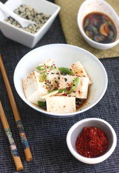 Korean Chili Chilled Tofu recipe by SeasonWithSpice.com