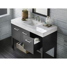"Ronbow R036848B01D2 Calabira Over 45"" Bathroom Vanity - Black / White at Ferguson.com"