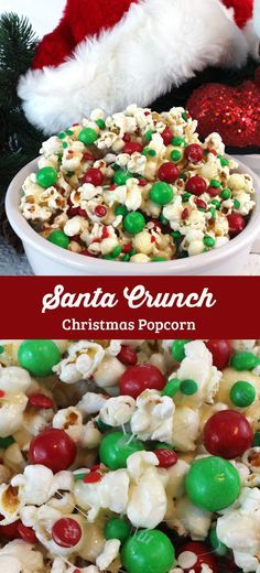 """""""Santa Crunch Popcorn - a fun Christmas treat. Sweet, salty, crunchy and delicious and it is so easy to make. It would be a great Christmas Party Food or a movie night dessert! Follow us for more fun Christmas Dessert ideas."""""""
