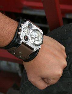 Mens wrist watch Leather bracelet Aviator SALE by dganin on Etsy