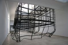 "Monika Sosnowska - ""1:1"" Amazing sculptural installation. Blocking action around/inside it would be awesome. Reminiscent of fire escapes and skeletal frame construction"