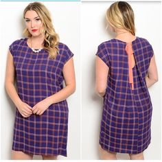 "Navy Coral Dress  Navy Coral Plus Size Dress. This shift dress features short sleeves, a rounded neckline and plaid print all over. Measurement Armpit to Armpit  Size 3XL Bust: 25"" Length: 39""  Please feel free to ask any ❓❓❓ you may have. Thank you for looking and Happy Poshing!! Dresses Midi"