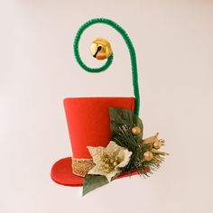 Christmas, Burlesque, Gothic, Steampunk, Victorian, Showgirl, Mad Hatter, Alice in Wonderland, Red Iridescent Taffeta Mini Top Hat
