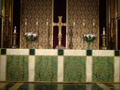 Green altar frontal by Grace Liturgical Vestments.