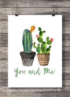Valentine Kakteen   Aquarell-Kaktus   Typografie-Hand gelettert