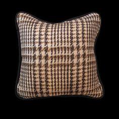 Custom Brown & Beige Exploded Glen Plaid Pillow