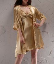 Women's Elegant Knee Length Nightgown and Robe Set--Champagne, Gift Idea
