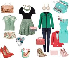 """""""different shades of green"""" by aniri310 on Polyvore"""