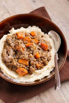 """Lentil & Vegetable Stew with Cauliflower White Bean Puree. because we can all give lentils a try. especially when they're over """"mashed potatoes"""" (cauliflower) It's genius!"""
