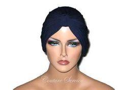 Handmade Blue Chemo Turban, Navy