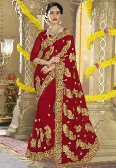 Embroidered Pure Georgette Saree in Maroon