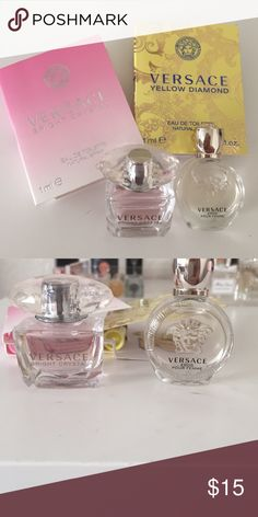 Versace perfume samples Two vials on cards bright crystal and yellow diamond, 2 deluxe vials bright crystal and Eros pour femme. All new never used. Sephora Accessories