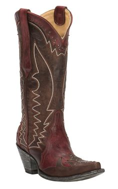 Cavender's by Old Gringo Women's Hilton Dark Red & Brown Goat Wingtip Snip Toe Western Boots | Cavender's