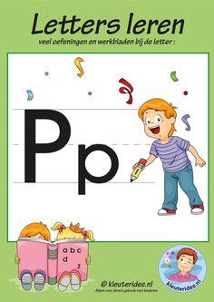 Pakket over de letter p blad 1, voorkant, letters aanbieden aan kleuters, kleuteridee.nl, free printable.