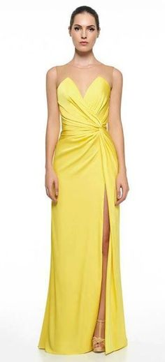 Yellow Pleated Prom Dress,Sheath Prom Dress,MB 424