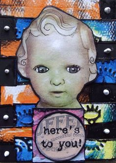 HERE'S TO YOU Original Art Mixed Media Collage ACEO DOLL Venecia Outsider   #OutsiderArt