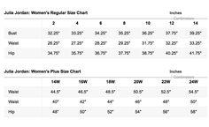 Julia Jordan Size Chart