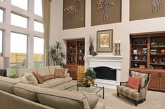 Westin Homes - New Homes Houston - Living Room - Fireplace - Floor to Ceiling Windows - Art Niche - Open Concept House, Home, Westin Homes, Windows, Building A House, Floor To Ceiling Windows, Niche Decor, Flooring, Interior Design