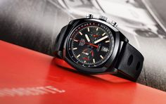 The new TAG Heuer Monza Calibre 17 - the original Monza was first introduced to celebrate Ferrari's World Championship title in 1975.  This watch recalls the glory days of racing while offering a great deal more than retro design.