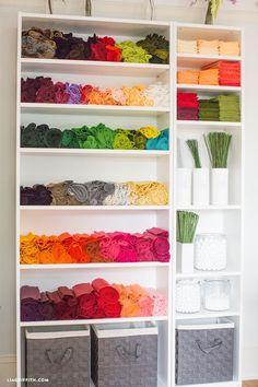 Craft room shelving unit with organized craft materials Ikea Craft Room, Small Craft Rooms, Craft Room Storage, Craft Organization, New Crafts, Creative Crafts, Sewing Crafts, Wardrobe Furniture, Furniture Storage