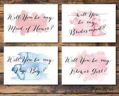 Will You Be My... Wedding Stationary Pack Watercolour DIY Bride Printable Postcard Set Maid of Honour/Bridesmaid/Flower Girl/Page Boy