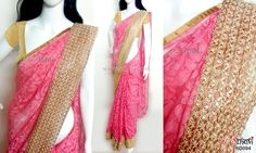 Peach net saree  CODE: SD094 PRICE: Rs.2950 SAREE: Soft peach net saree with a self leaf design and light gold lace border BLOUSE: Light gold shimmer material