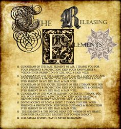 Releasing the Elements page I made for my Book of Shadows. It goes with the Invoking the Elements page I made. Please share & use for your own BOS!