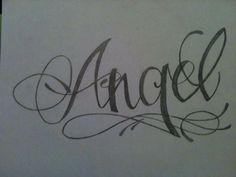 Dibujo hecho a lápiz - Tatuaje con el nombre de Angel