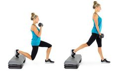 split lunge with bicep curl