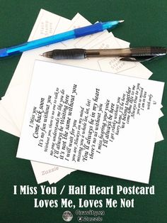 I Miss You Text in Half of Heart Postcard by #LovesMe_LovesMeNot at  #Gravityx9 Designs #Zazzle -