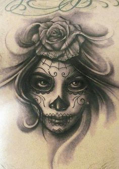 Day of the dead inspired tattoo sketch