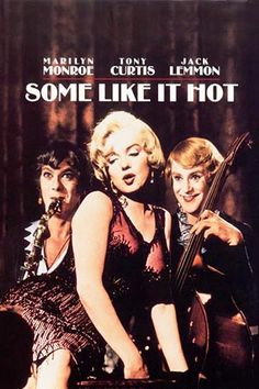 Marilyn Monroe movie poster for the film Some Like It Hot, starring Tony Curtis & Jack Lemmon . Tony Curtis, Jack Lemmon, Some Like It Hot, See Movie, Movie Tv, Classic Hollywood, Old Hollywood, Cinema Paradisio, Marilyn Monroe