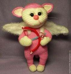 Купить Ангельский Котейка - комбинированный, котик, авторская ручная работа, авторская работа, авторская игрушка