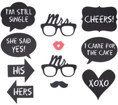 Wedding PhotoBooth Prop set of Mr. and Mrs. Glasses  by Instagrin