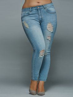 High Waisted Plus Size Skinny Ripped Jeans