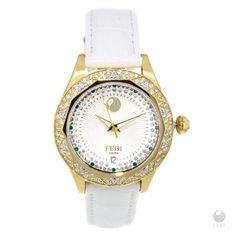 FERI - Themis -Yellow Gold&Stainless Steel Watch with Swiss Movement w 80 stones Optical Glasses, Green Stone, Stainless Steel Watch, Gold Watch, Sterling Silver Jewelry, Bracelet Watch, 3 Piece, Stones, Accessories