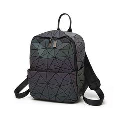 Women's Bags Discoloration Women Backpack Diamond Lattice Geometry Quilted Luminous School Bag Backpacks For Teenage Girl Holographic Mochila Backpacks