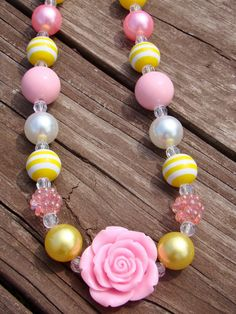 Pink Lemonade Chunky Bubblegum Bead Necklace