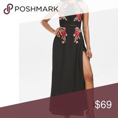 """Maxi black and red dress floral pattern Black maxi dress with red floral pattern It will be back in stock soon Check out more sizes and styles on our website. Link in the """"About"""". Dresses Maxi"""