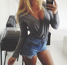 grey wrap top + denim cutoffs